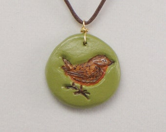 Necklace Pendant with Bird, Hand Painted, Polymer Jewelry, Green Charm, Wearable Art