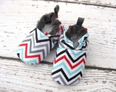 Classic Vegan Blue Grey Chevron Girls Chevrons All Fabric Soft Sole Baby Shoes / Made to Order / Babies Gray