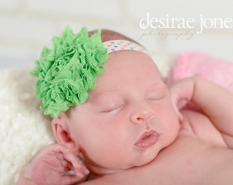 Baby headband,Baby flower Headband,Flower Headband,Baby Girl Headband,Infant Headband,Girl Headband,Green flower headband,McCall Headband