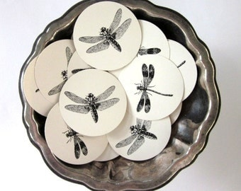 Dragonfly Tags Round Paper Gift Tags Set of 10