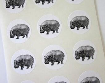 Hippo Hippopotamus Stickers One Inch Round Seals