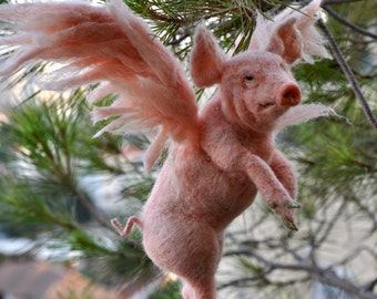 Needle felted animal. PIGASUS. Christmas Tree Topper.  Made to order