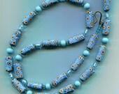 Venetian Murano Millefiori  Turquoise Tube Beads B1451T*
