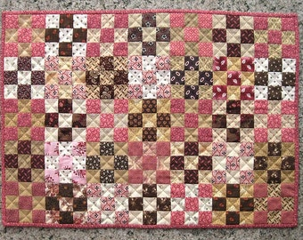 Pink and Brown Nine-Patch Mini Quilt