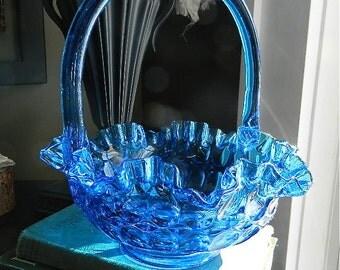 """Vintage Fenton Basket, Glass Thumbprint Pattern Brides Flower Basket, Aqua Blue Color: """"Something Blue"""""""