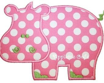 493 Hippo Machine Embroidery Applique Design