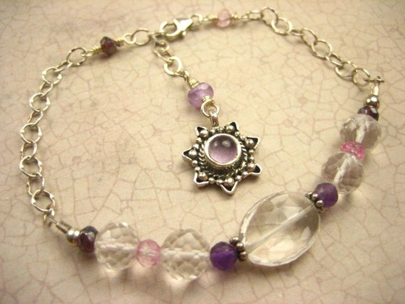 Rock Crystall Quartz Amethyst Garnet Pink Quartz Gemstone Charm Bracelet Sterling Silver Amethyst Star april birthday