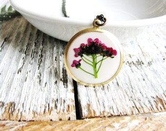 Pressed Flower Necklace Resin JewelryBurgandy Red Alyssum Flowers Botanical Preserved Plant Bridal Resin Naturalist Garden Chic Gift