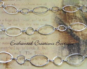Silver Circle and Oval Chain or Necklace Extension, 1 Yard