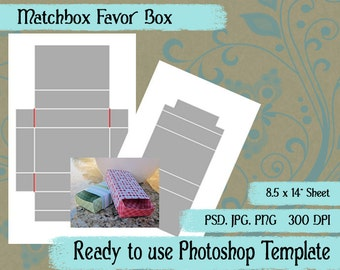 Matchbox Favor Box; Photoshop Template, Pattern to Create Your Own Personal Favors
