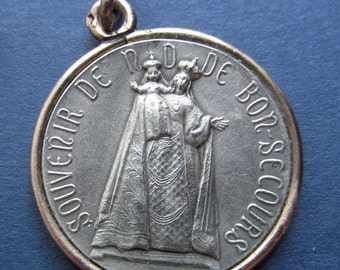 Antique Silver Virgin Mary Our Lady Of Good Help Religious Medal Notre Dame de Bon Secours French Catholic Pendant  SS177