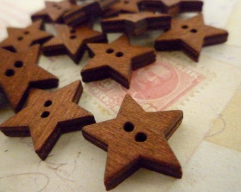 Wooden Buttons, Dark Star Wood Buttons, Pack of 10