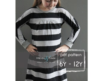 Tulip Tunic and Dress PDF pattern and tutorial 6-12y easy sew tunic dress jumper