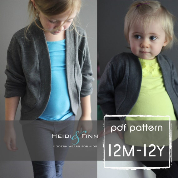 Slouchy Cardigan pattern and tutorial PDF 12m - 12y easy sew sweater bolero