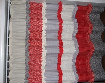 Red Cream and Grey Ruffled Curtain***