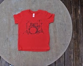 Drum Set T-Shirt American Apparel  Unisex Children's Tee in Bright Red