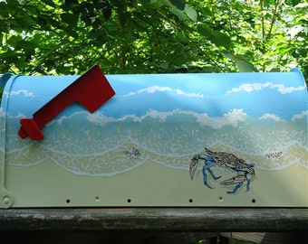 Crab and Shells on the Beach Mailbox,  Hand Painted-Personalized Mailbox, Beach Decor, Housewarming gift