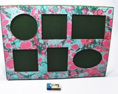 Marbled paper picture frame, 6 windows, corniche, bilderrahmen, marco  -  SIZE: 9,16