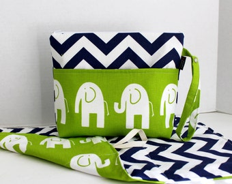 Large Zippered Diaper Clutch and Changing Mat Travel Set - Attach to Stroller - Navy Chevron Lime Elephants