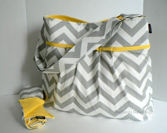 Monterey Chevron Diaper Bag Set - Large - Grey Chevron and Yellow - Adjustable Strap and Elastic Pockets