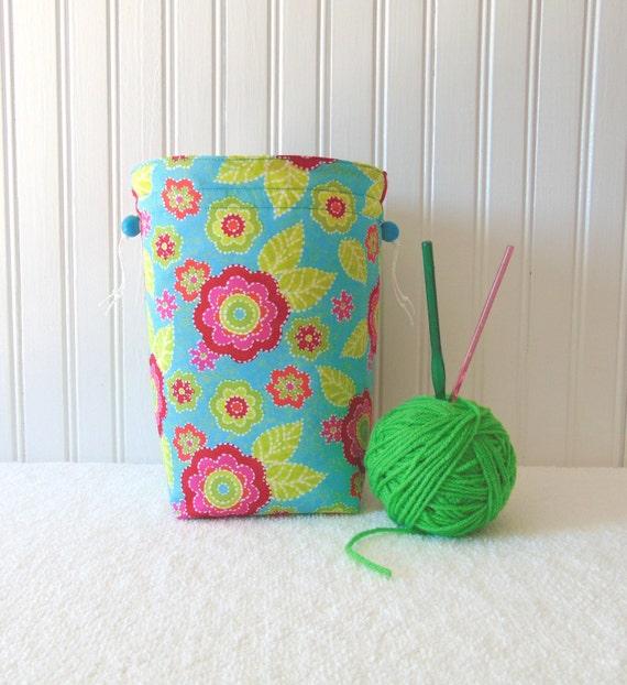 Knitting Pattern Small Drawstring Bag : Knitting or Crochet Project Bag Small Drawstring by JannysGirl