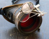 Steampunk goggles monocle eyepatch costume biker glasses red lens cyber gothic