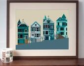 San Francisco Painted Ladies Houses Art Print