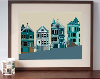 San Francisco Painted Ladies Houses Art Print