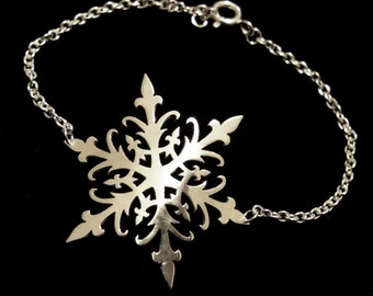 Sterling Silver Winter Snowflake Bracelet - Ice Queen - FALLING SNOW