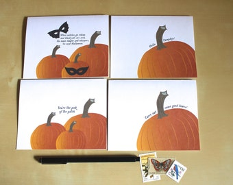 Fall / Autumn Pumpkin Greeting Cards - Boxed Set of 4