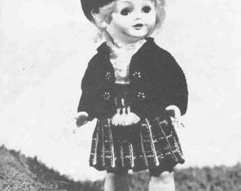 "Vintage Knitting pattern for 16""41cm dolls. A complete scottish outfit"
