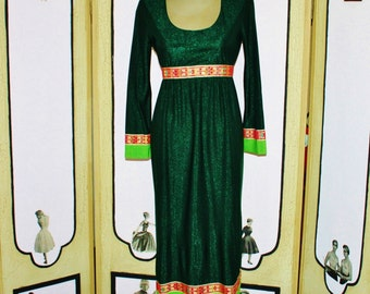 Vintage 1970's Metallic Green Plunge Neck Cocktail Dress. Small.