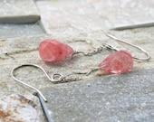 Pink quartz, watermelon quartz, natural stone jewelry, chain earrings, pink jewelry