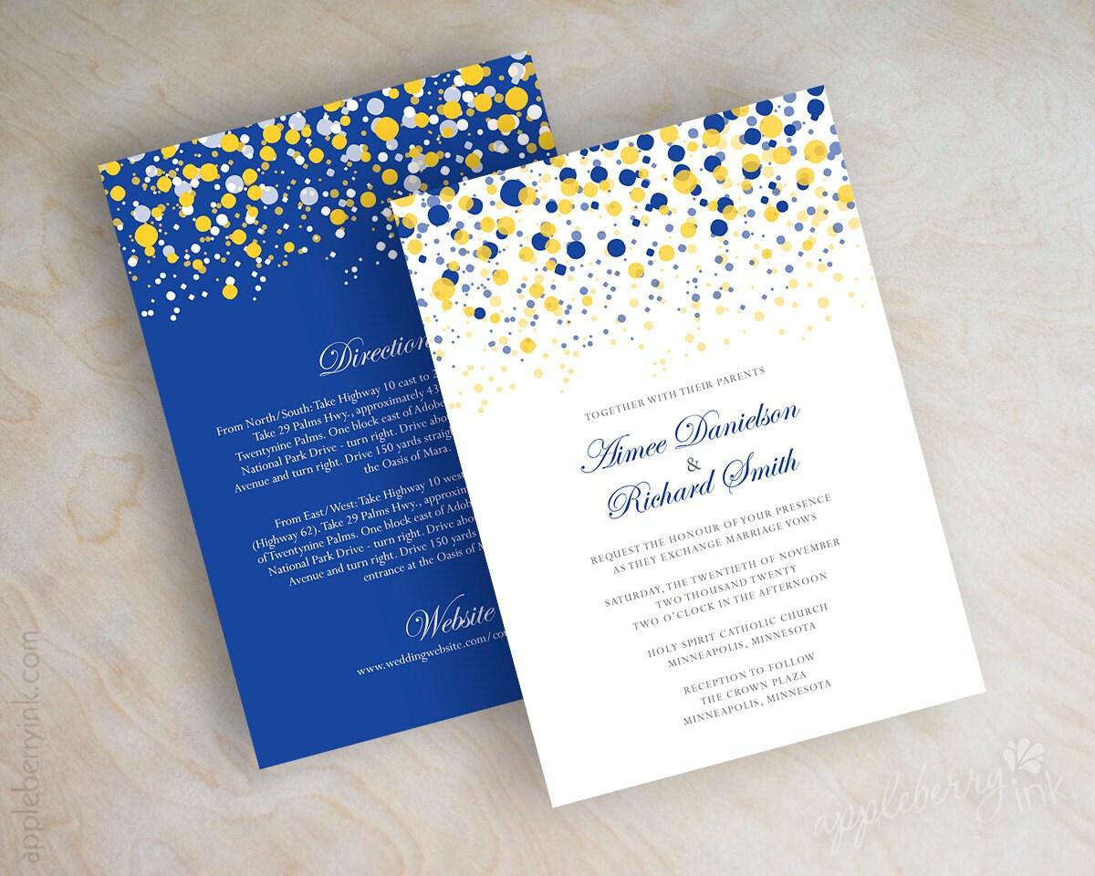 Gold And Blue Wedding Invitations: Blue And Yellow Gold Polka Dot Wedding Invitation Modern