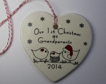Ceramic Our 1st Christmas as Grandparents ornament - your choice of baby girl or boy