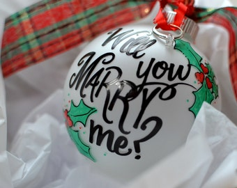Christmas Proposal Ornament shipped 1-2 DAY PRIORITY EXPRESS read Item Details - may be overnight delivery, handpainted hand painted gift