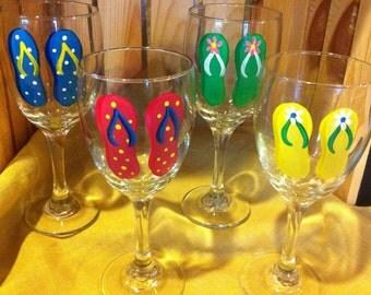 Flip Flop Wine Glasses Set/4