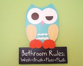 owl bathroom decor, bathroom rules sign, wooden owl decor, children's bathroom,  owl wall decor, wall art
