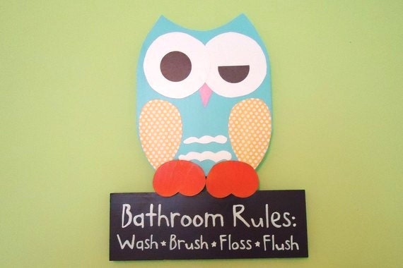Items similar to owl bathroom decor bathroom rules sign for Cute bathroom stuff