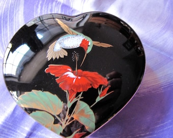 Vintage Hummingbird Cobalt Blue Large Heart Trinket Box By Otagiri - Hummer & Hibiscus Flower Heart What Not box