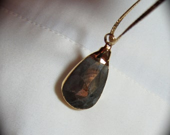 Labradorite 24Kt Gold Electroplated  Pendant  Beautiful  Rainbow Irridescent Purples, Blues Colors