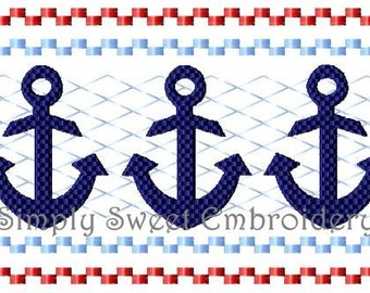 Anchor Faux Smocking Embroidery Design