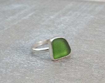 Olive Green Sea Glass Ring set in Sterling Silver size 8.25