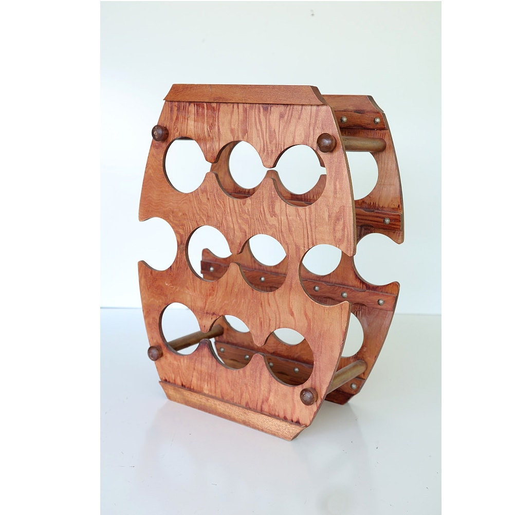 Vintage mid century wooden barrel shaped wine rack perfect for - Wine rack shaped like wine bottle ...