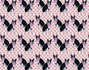 Boston terrier  fabric in pink or blue or yellow