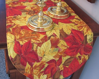 "Changing Fall Leaves Table Runner 36"" Golden Yellow and Red Leaves Fall Table Runner Thanksgiving Table Runner"