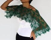 Jade Green Lace Top Shrug, Shoulder Wrap. Handmade