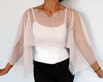 Lace Bolero Capelet, Dusty Powder Pink Shrug, V Neck, Unique Design, Pastel Pink Tulle Poncho Tunic