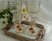 SALE 2 Pc Country Hick style Mason Jar Toasting Wine Tea Champagne Glasses w/ Heart Charms Wood Burned Engraved Initials Rustic Wedding