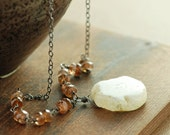 Rustic Pendant Necklace, Solar Quartz Andalusite Sterling Silver Necklace, Earthy Boho Jewelry
